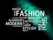 Dark-Cyan stripe background with the white words of the fashion