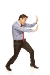 Employee Pushing or Resisting (isolated on white)
