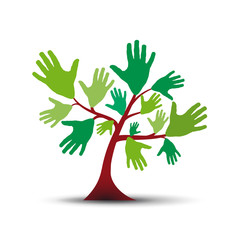 Green tree with hands # Vector