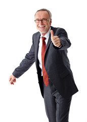 Successful mature business man, thumb up