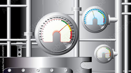 measuring sensors and pipes - industrial illustration - vector