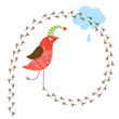 Greeting card. Funny birds, place for your text