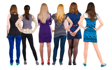 Back view group of woman