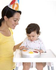 Mum and baby celebrating 1st birthday