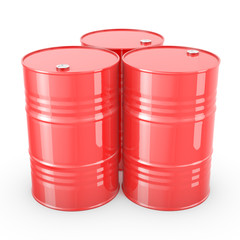 Three red barrels