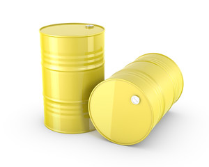 Two yellow barrels