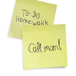 Call mom reminder. Text on yellow sticky notes, vector, EPS10.