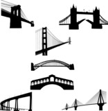 Fototapety The most famous bridges of the world silhouette