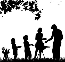 Family barbecue and picnic in the garden silhouette