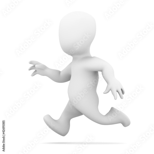 3d Little man running very fast