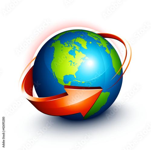 Planète terre flèche