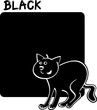 Color Black and Cat Cartoon