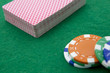 deck cards and casino chips close-up