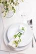 Festive table setting in white