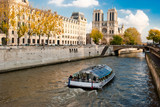 Notre Dame view from Seine river, Paris