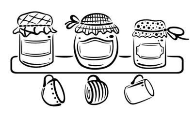 Marmelade, Regal, Marmeladengläser, vector, schwarz