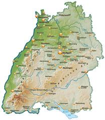 Landkarte von Baden-Württemberg mit Schummerung