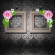 Two  frames with roses over vintage wallpaper