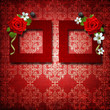 Red frames with roses over vintage wallpaper
