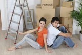 A tired couple on moving day