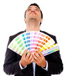 Man holding a color guide