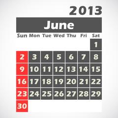 calendar 2013.June