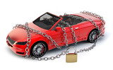 Car protected wrapped with chain and lock