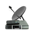 Leinwanddruck Bild - Set of receive box remote and dish antenna