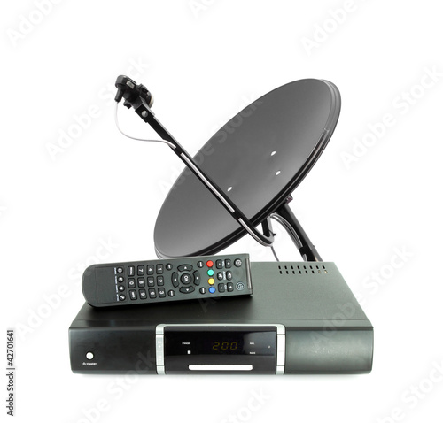 Leinwanddruck Bild Set of receive box remote and dish antenna