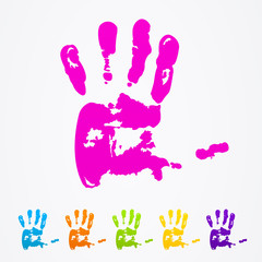 Abstract colorful hands vector.