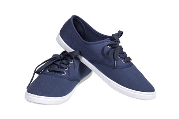 A pair of walking blue sneakers isolated with clipping path