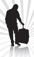 iş adamı seyahat bavul siluet