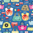 texture of bright handbags