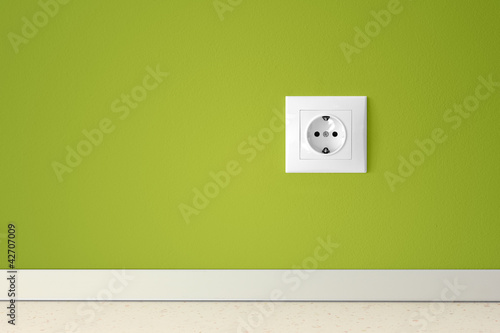 Green wall with european electric outlet - 42707009