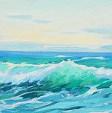 morning on mediterranean sea, wave,  illustration, painting by o