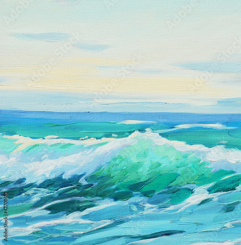Obraz w ramie morning on mediterranean sea, wave, illustration, painting by o
