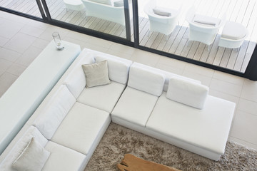 High angle view of sectional sofa in modern living room