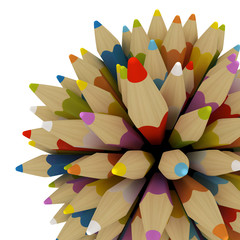 Colourful pencils isolated on white background