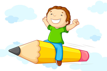 Kid flying on Pencil