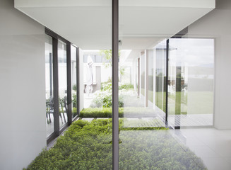 View of courtyard from windows of modern house