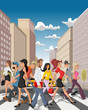 Cartoon business people crossing a downtown street in the city