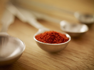 Close up of spice in measuring spoon