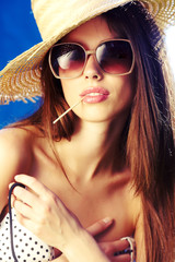 Sexy summer girl with  hat