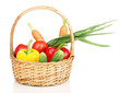 Fresh vegetables in basket isolated on white