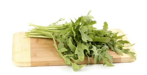 Fresh rucola salad or rocket lettuce leaves