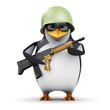 3d Penguin in glasses in combat with gun