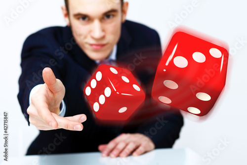 Flying dices as symbol of risk