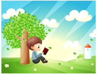 Representation of boy reading book under tree