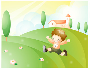 Representation of boy running in field