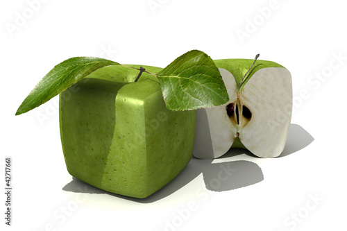 Granny-Smith cubic apple and a half